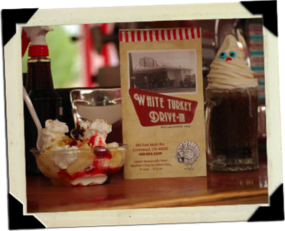 image Menu flanked by a sundae and root beer float