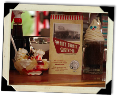 image Menu flanked by a sundae and a root beer float