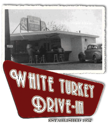 image White Turkey Drive-In Established 1932 black and white photo and retro sign.